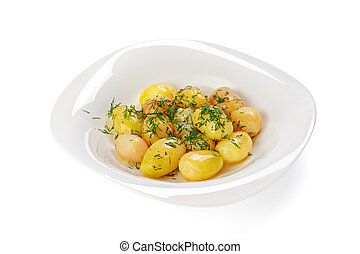 Boiled potatoes with herbs isolated on white