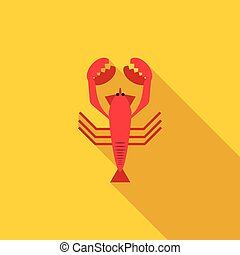 Boiled red crayfish icon, flat style