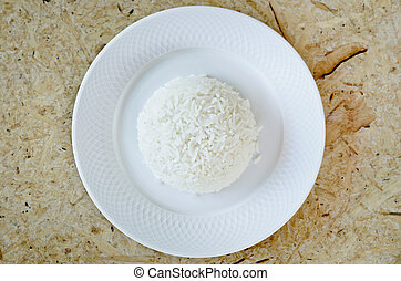 boiled rice on a white plate