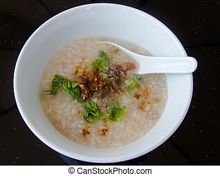 Boiled rice with pork and vegetables