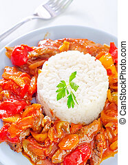 boiled rice with vegetables