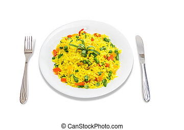 Boiled rice with vegetables - White dish with boiled rice, ...