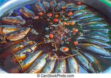 Boiled salted mackerel in Amphawa market. - Boiled salted ...