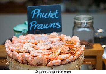 boiled shrimp in wooden buckets
