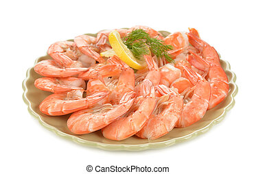 Boiled shrimp with lemon