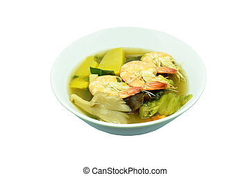 boiled spicy mixed vegetable with shrimp soup on bowl