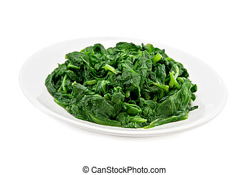 spinach - boiled spinach on plate isolated