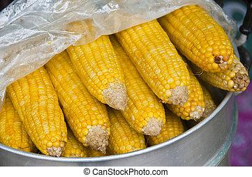 Boiled sweet corn vegetable food.