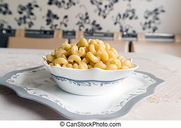 Boiled the pasta in a bowl on table