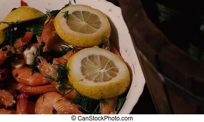boiled tiger shrimps with dill garlic and lemon. smooth slow...
