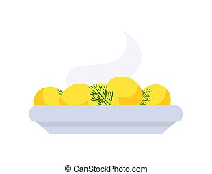 Boiled Warm Potatoes on Plate, Vegetables Vector