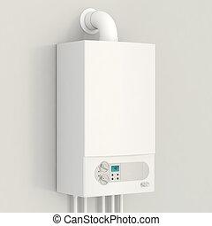 boiler., bianco, gas