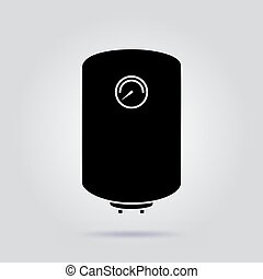Boiler black icon water heater vector on gray background