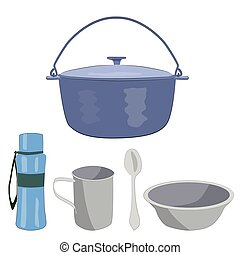 Boiler, bowl, mug, spoon, water bottle for camping in the summer