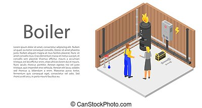Boiler concept banner, isometric style