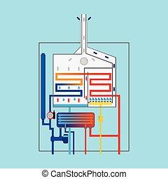 boiler., condensing, gas, vector.