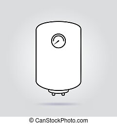 Boiler flat icon water heater vector on gray background