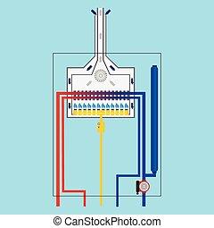 boiler., gas, vector.