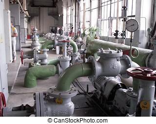 Gas, boiler-house. Gas, zimmer, dampfkessel, boiler.