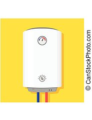 Boiler Icon in flat style. Boiler isolated on yellow background wish shadow. Vector Illustration