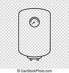 Boiler line icon water heater vector on a transparent background