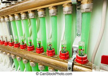 boiler-room, 控制, 暖气設備, underfloor