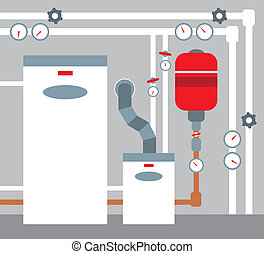 Boiler room - Vector illustration, color full