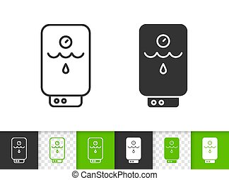 Boiler black linear and silhouette icons. Thin line sign of water heater. Electric outline pictogram isolated on white, color, transparent background. Vector Icon shape. Boiler simple symbol closeup