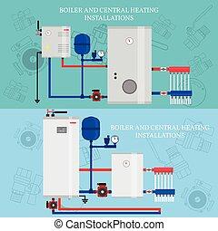 Gas, zentralheizung, installationen, boiler. Vektor,... EPS Vektor ...