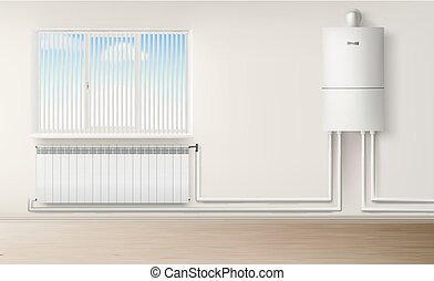 Boiler water heater wall connected with radiator