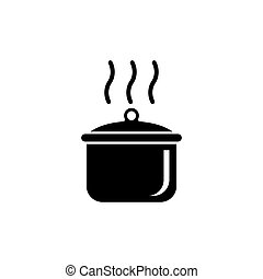 Boiling Cooking Pan Flat Vector Icon