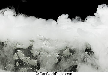 boiling dry ice with vapor, closeup view