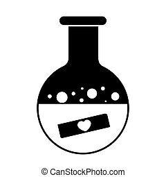 Boiling flask with heart icon on white background