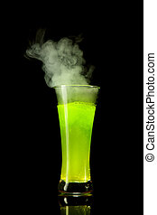 Boiling green alcohol