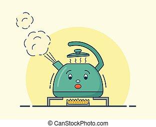 Boiling kettle character in flat design. Vector illustration.
