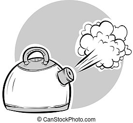 Boiling Kettle - Steam blasting from a boiling, cartoon...