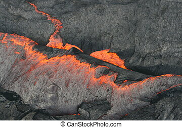 boiling lava in Hawaii - in Hawaii Volcanoes national park