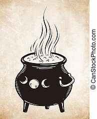 Boiling magic cauldron vector illustration. Hand drawn...