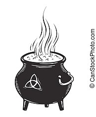 Boiling magic cauldron