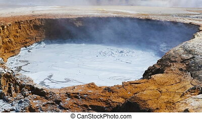 Boiling mud at geyser in Hverir, Iceland - Boiling mud at...