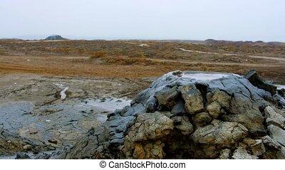 Boiling muddy bubbles in Gobustan near Baku