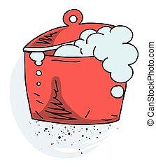 Boiling pan cartoon hand drawn image