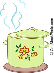 Boiling pan with pattern - Boiling pan with flower cover, ...