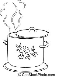 Boiling pan with flower cover, steam and support, contours