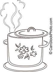 Boiling pan with pattern, contours - Boiling pan with flower...