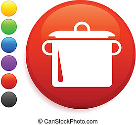 boiling pot icon on round internet button original vector illustration 6 color versions included