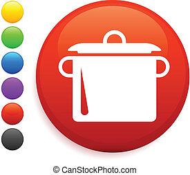 boiling pot icon on round internet button original vector ...