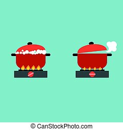 boiling pot on stove with bubble and steam, cooking concept flat design vector