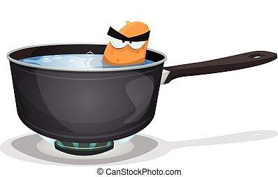Boiling Potato Inside Kitchen Pan