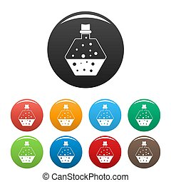 Boiling potion icons set color
